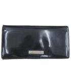 グッチ GUCCI 二つ折り 長財布 フラップ ロングウォレット エナメル ロゴプレート 黒 ブラック イタリア製 R041027