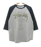 ステューシー STUSSY ワールドツアー ラグランTシャツ カットソー 七分袖 ロゴ プリント コットン M グレー 紺 ネイビー R040917