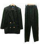 キャラオクルス CARA O CRUZ パンツスーツ セットアップ コーデュロイ テーラードジャケット ダブル ベルト付き 金ボタン 9 緑 グリーン R041603