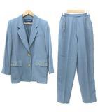 キャラオクルス CARA O CRUZ スーツ セットアップ テーラードジャケット タックパンツ 金ボタン 刺繍 9 水色 ライトブルー R041424