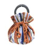 ジャミレイ JAMIRAY 巾着 パイルバッグ ハンドバッグ ストライプ ブルー ブラウン OWK S041708