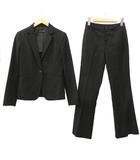 インタープラネット INTERPLANET パンツスーツ セットアップ シングル 1B テーラードジャケット スラックス ビジネス フォーマル 36 黒 ブラック R042512