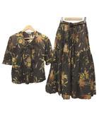 インゲボルグ INGEBORG セットアップ ブラウス ロング スカート 半袖 花柄 フラワープリント ピンタック リボン F 茶 ブラウン S041710