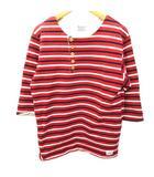 アナクロノーム anachronorm Tシャツ 七分袖 ヘンリーネック ボーダー カットソー コットン 1 S 赤 レッド C042414