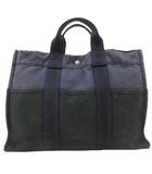 エルメス HERMES フールトゥ トートバッグ ハンドバッグ キャンバス 紺 ネイビー 黒 ブラック フランス製 RRR E072304