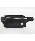 オロビアンコ OROBIANCO ウエストバッグ 美品 黒 型押し ナイロン ウエストポーチ ブラック シルバー D6261
