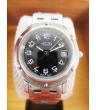 エルメス HERMES 腕時計 クリッパー CL4.210 クオーツ シルバー 黒文字盤 日付 D6490