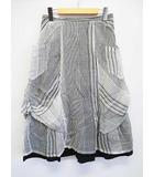 イム センソユニコ i+mu Senso Unico フレアスカート 40 白 グレー ストライプ ウエストゴム ロング D6493