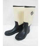 ランズエンド LANDS' END 長靴 レインブーツ 11 26cm クリーム 深緑 紳士靴 D6618