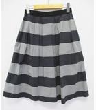 マーガレットハウエル MARGARET HOWELL スカート 1 紺 グレー ボーダー フレアー ギャザー D6708