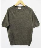 マーガレットハウエル MARGARET HOWELL ニット セーター 2 半袖 茶 黒 リネンコットン D6711
