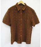 バーバリー BURBERRY PRORSUM プローサム シャツジャケット 46 茶 半袖 レース刺繍 D6867 ☆AA★ 預 ブラウン シャツ