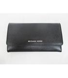 マイケルコース MICHAEL KORS 長財布 美品 三つ折り 黒 レザー ブラック 小銭入れ D7034