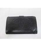 シャネル CHANEL 二つ折り財布 黒 キャビアスキン ココマーク ブラック がま口 D7147