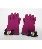 コーチ COACH 手袋 グローブ 7 1/2 紫 パープル レザー D7279 リボン