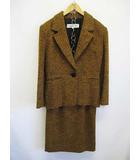クリスチャンディオール Christian Dior スカートスーツ 9 茶 黒 セットアップ ツイード D7536