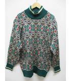 クリスチャンディオール Christian Dior SPORTS ニット セーター M 緑 グリーン 総柄 長袖 D7585