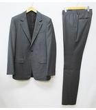ルイヴィトン LOUIS VUITTON スーツ 48 グレー ストライプ シングル 2ボタン 総裏 ウール セットアップ 国内正規 D7670