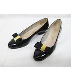 サルヴァトーレフェラガモ Salvatore Ferragamo パンプス 5 22.5cm 黒 ヴァラ エナメル ブラック ローヒール 婦人靴 D7684