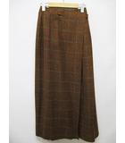 フィロソフィーディアルベルタフェレッティ PHILOSOPHY di ALBERTA FERRETTI ロングスカート I40 茶 格子柄 ウール ラップスカート 巻きスカート D7727