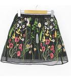 ディスコート Discoat ミニ スカート 刺繍 花 裏地 130 ブラック 黒系 綿 コットン