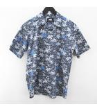ヘリーハンセン HELLY HANSEN 半袖 アロハシャツ M ネイビー系 紺 総柄 綿 コットン 日本製