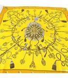 エルメス HERMES 鍵柄 シルク 絹 カレ90 大判スカーフ 黄土色系 フランス製