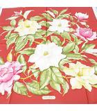 サルヴァトーレフェラガモ Salvatore Ferragamo シルク 絹 スカーフ 大判 レッド 赤系 イタリア製 タグ付き