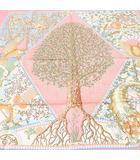 エルメス HERMES シルク 絹 スカーフ 90 カレ AXIS MUNDI  世界の中心軸 サーモンピンク系 フランス製