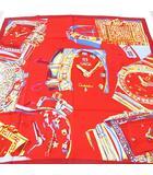 オメガ OMEGA シルク 絹 スカーフ カレ 時計柄 大判 レッド 赤系 フランス製