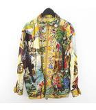 エルメス HERMES スカーフ柄 リバーシブル ジャケット コート 絹 シルク 中綿 40 ベージュ系 フランス製 ジップアップ 国内正規