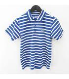 モンベル Montbell ボーダー 半袖 ポロシャツ カットソー 150 青系 ブルー ロゴ 文字 プリント ボタン