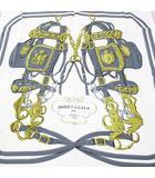エルメス HERMES カレ90 BRIDES de GALA 式典用馬勒 大判 スカーフ 正方形 絹 シルク ピンク系 フランス製