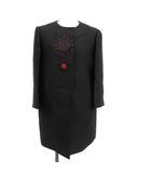 プラダ PRADA コート ノーカラー ロング 花 フラワー 刺繍 38 黒 ブラック /KH