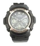 カシオジーショック CASIO G-SHOCK 腕時計 ソーラー アナログ デジタル 2針 クロノグラフ 黒 ブラック AWG-100 /MF43 ●D