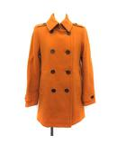 バーバリー BURBERRY コート ステンカラー ダブル ウール 38 オレンジ /KH