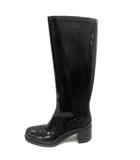 フルラ FURLA ブーツ ロング 長靴 レインシューズ ロゴ ヒール 37 黒 ブラック /SR ●D