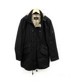 バーバリーブラックレーベル BURBERRY BLACK LABEL コート 中綿 フード付き 裏地チェック L 黒 ブラック /YM ●D