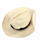 ボルサリーノ Borsalino 麦わら帽子 ストローハット 帽子 M アイボリー /KH