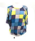 ミナペルホネン mina perhonen jelly Tシャツ カットソー チェック ドルマンスリーブ 半袖 38 紫 青 黄色 /YM