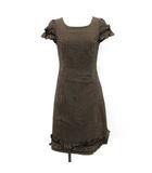 エムズグレイシー M'S GRACY ワンピース ロング ギンガムチェック リボン 半袖 38 茶 黒 /YM