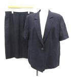 バーバリーズ Burberrys セットアップ スーツ 上下 半袖ジャケット スカート 17 紺 ネイビー /EK ●D