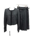 ロイスクレヨン Lois CRAYON スーツ セットアップ 上下 ジャケット スカート 千鳥格子 ウール M グレー 黒 /KH
