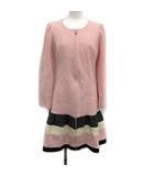 エムズグレイシー M'S GRACY ワンピース ひざ丈 長袖 ウール 40 ピンク グレー アイボリー /KH