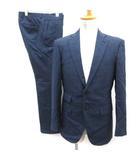 ナノユニバース nano universe セットアップ スーツ 上下 ジャケット パンツ チェック 紺 ネイビー /EK ●D