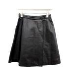 フェンディ FENDI ラップスカート ミニ 台形 レザー 黒 ブラック /KH