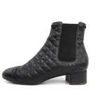 シャネル CHANEL ブーツ ショート サイドゴア キルティング レザー 36C 黒 ブラック /KH