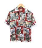 ザリアルマッコイズ THE REAL McCOY'S アロハシャツ 半袖 総柄 S 赤 カーキ 白 /YM