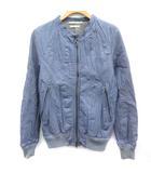 バイ タス スタンダード by Tass standard ライダースジャケット シングル レザー 豚革 ジップアップ M 青 ブルー /EK ●D