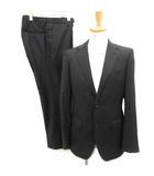 プラチナ コムサ platinum COMME CA 46 セットアップ 上下 スーツ ジャケット パンツ ストライプ サイドベンツ 黒 ブラック /EK